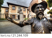 Купить «El quijote statue in front of Cervantes birth house-museum. alcala de henares. Spain. It is a monographic museum placed in Calle Mayor, and housed in the...», фото № 21244109, снято 30 сентября 2015 г. (c) age Fotostock / Фотобанк Лори