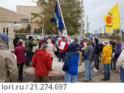 Купить «Detroit, Michigan - Neighbors and environmentalists protest a plan to allow U. S. Ecology's waste facility to accept higher amounts of radioactive waste from oil and gas fracking operations.», фото № 21274697, снято 3 октября 2015 г. (c) age Fotostock / Фотобанк Лори