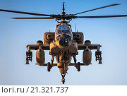 Купить «Israeli Air force (IAF) Boeing Apache AH-64A (Peten) Helicopter in flight.», фото № 21321737, снято 31 января 2008 г. (c) age Fotostock / Фотобанк Лори