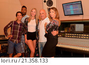 Купить «The reigning Miss Germany, Olga Hoffmann, producing her first music video and recording her album at Luis Rodriguez' studio who used to be co-producer...», фото № 21358133, снято 15 августа 2015 г. (c) age Fotostock / Фотобанк Лори