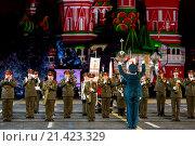 Купить «Международный фестиваль военной музыки «Спасская башня». Оркестр штаба Южного военного округа», эксклюзивное фото № 21423329, снято 10 сентября 2015 г. (c) Андрей Дегтярёв / Фотобанк Лори
