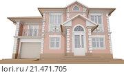 Купить «Коттедж с розовым фасадом, в классическом стиле», иллюстрация № 21471705 (c) Elizaveta Kharicheva / Фотобанк Лори