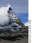 Маттерхорн с облаком, Швейцария (2013 год). Стоковое фото, фотограф Эльвира Рубан / Фотобанк Лори