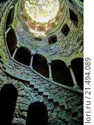 Купить «View of the Masonic initiation well in Quinta da Regaleira, Sintra, Portugal.», фото № 21494089, снято 21 июля 2018 г. (c) easy Fotostock / Фотобанк Лори