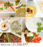 Купить «Arab middle eastern food collage collection on white frame.», фото № 21558077, снято 21 марта 2019 г. (c) easy Fotostock / Фотобанк Лори