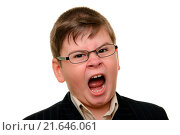 Купить «Shouting boy in glasses», фото № 21646061, снято 24 августа 2019 г. (c) easy Fotostock / Фотобанк Лори