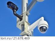 Купить «Камеры наружного видеонаблюдения», фото № 21678469, снято 10 января 2016 г. (c) Сергей Трофименко / Фотобанк Лори