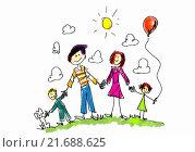 Draw your family. Стоковая иллюстрация, иллюстратор Sergey Nivens / Фотобанк Лори