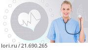 Купить «Composite image of female surgeon using stethoscope over white background», фото № 21690265, снято 21 ноября 2019 г. (c) Wavebreak Media / Фотобанк Лори