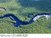 Forest river in spring, top view, фото № 21699929, снято 20 июня 2015 г. (c) Владимир Мельников / Фотобанк Лори