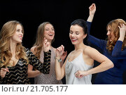 Купить «happy young women dancing at night club disco», фото № 21705177, снято 21 ноября 2015 г. (c) Syda Productions / Фотобанк Лори