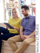 Купить «happy creative team with tablet pc in office», фото № 21705613, снято 29 марта 2015 г. (c) Syda Productions / Фотобанк Лори