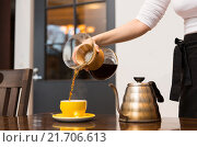 Купить «close up of barista woman making coffee», фото № 21706613, снято 1 декабря 2015 г. (c) Syda Productions / Фотобанк Лори