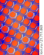 Красные крышки,  расположены на синем фоне, симметричными рядами. Стоковая иллюстрация, иллюстратор Ира Кураленко / Фотобанк Лори