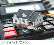 Купить «Mortgage calculator. House on buttons. Real estate concept.», фото № 21723665, снято 1 апреля 2020 г. (c) Maksym Yemelyanov / Фотобанк Лори