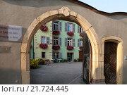 Tuerkheim, France, entrance to a nursing home (2010 год). Редакционное фото, агентство Caro Photoagency / Фотобанк Лори