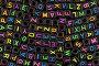 Черные бусины с разноцветными символами латинского алфавита, фон, фото № 21731937, снято 7 февраля 2016 г. (c) Игорь Долгов / Фотобанк Лори