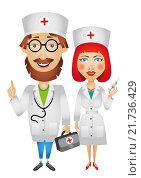 Купить «Врач и медсестра, рисунок», иллюстрация № 21736429 (c) Neta / Фотобанк Лори