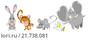 Купить «Зверушки Заяц, Тигр, Мышка, Слоненок», иллюстрация № 21738081 (c) М Б / Фотобанк Лори