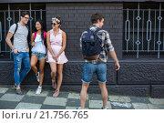 Купить «Hip friends spending time together», фото № 21756765, снято 8 октября 2015 г. (c) Wavebreak Media / Фотобанк Лори