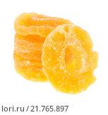 Купить «Сушёные кольца ананаса на белом фоне», фото № 21765897, снято 6 февраля 2016 г. (c) Литвяк Игорь / Фотобанк Лори