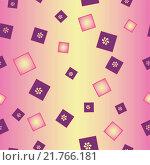 Цветы и квадраты вращаются на розово-желтом, бесшовный фон. Стоковая иллюстрация, иллюстратор Костенко Юлия / Фотобанк Лори