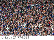 Fans of Hertha BSC football club in the Olympia Stadium in Berlin, Germany (2005 год). Редакционное фото, агентство Caro Photoagency / Фотобанк Лори