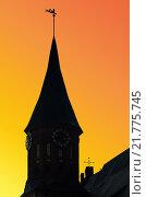 Купить «Башня Кафедрального собора в Калининграде на фоне заката. Россия», фото № 21775745, снято 3 мая 2014 г. (c) Сергей Трофименко / Фотобанк Лори