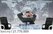 Купить «Rear view of businessman looking at tech interface», видеоролик № 21776889, снято 23 ноября 2019 г. (c) Wavebreak Media / Фотобанк Лори