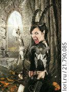 Купить «Faun sorceress with big horns in a forest», фото № 21790085, снято 22 мая 2019 г. (c) PantherMedia / Фотобанк Лори