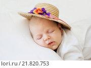 Cute newborn baby sleeps in a straw hat милый новорожденный спит в соломенной шляпе. Стоковое фото, фотограф Наталья Чумакова / Фотобанк Лори