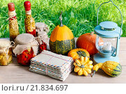 Купить «Pumpkins, preserves and vintage lantern on wooden table in the garden», фото № 21834697, снято 20 января 2019 г. (c) BE&W Photo / Фотобанк Лори