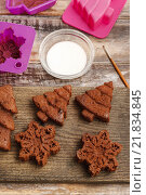 Купить «Decorating christmas gingerbread chocolate cookies with white icing», фото № 21834845, снято 22 января 2020 г. (c) BE&W Photo / Фотобанк Лори