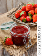 Купить «Jar of strawberry jam. Healthy food», фото № 21835129, снято 26 мая 2019 г. (c) BE&W Photo / Фотобанк Лори