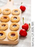 Купить «Puff pastry cookies filled with cherries. Party dessert», фото № 21835181, снято 22 октября 2018 г. (c) BE&W Photo / Фотобанк Лори