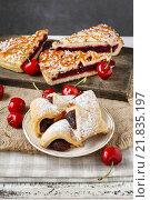 Купить «Puff pastry cookies filled with cherries. Party dessert», фото № 21835197, снято 22 октября 2018 г. (c) BE&W Photo / Фотобанк Лори