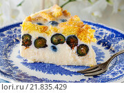 Купить «Blueberry and blackberry cheesecake with ladyfinger biscuit», фото № 21835429, снято 21 января 2020 г. (c) BE&W Photo / Фотобанк Лори