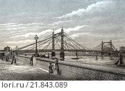 Купить «The Albert Bridge over the River Thames, 1880, West London, England.», фото № 21843089, снято 20 января 2016 г. (c) age Fotostock / Фотобанк Лори