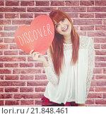 Купить «Composite image of smiling hipster woman with a big red heart», фото № 21848461, снято 11 декабря 2019 г. (c) Wavebreak Media / Фотобанк Лори