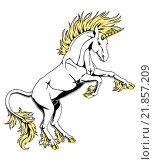 Купить «Гордый белый единорог вставший на задние ноги на белом фоне», иллюстрация № 21857209 (c) Анастасия Некрасова / Фотобанк Лори