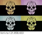 Купить «Изображение черепа в стиле поп арт», иллюстрация № 21858433 (c) Демченко Елена / Фотобанк Лори
