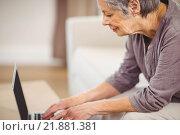 Senior woman using laptop in living room. Стоковое фото, агентство Wavebreak Media / Фотобанк Лори