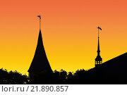 Купить «Силуэт Кафедрального собора в Калининграде на фоне заката. Россия», фото № 21890857, снято 3 мая 2014 г. (c) Сергей Трофименко / Фотобанк Лори