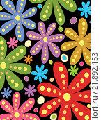 Купить «Цветочный орнамент на черном фоне», иллюстрация № 21892153 (c) Демченко Елена / Фотобанк Лори