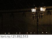 Уличный фонарь во время снегопада. Стоковое фото, фотограф Иван Прокопович / Фотобанк Лори