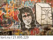 Купить «Стена Цоя. Фрагмент», фото № 21895229, снято 21 февраля 2016 г. (c) Евгений Вернигоров / Фотобанк Лори