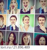 Composite image of composite image of upset brunette woman raising her arms. Стоковое фото, агентство Wavebreak Media / Фотобанк Лори