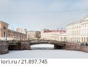 Купить «Набережная реки Мойки зимним утром. Санкт-Петербург», фото № 21897745, снято 17 февраля 2016 г. (c) Сергей Пинаев / Фотобанк Лори