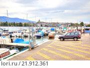 Купить «Женева. Берег озера», фото № 21912361, снято 6 мая 2014 г. (c) Parmenov Pavel / Фотобанк Лори