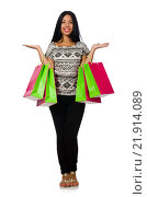 Купить «Woman with shopping bags isolated on white», фото № 21914089, снято 28 августа 2015 г. (c) Elnur / Фотобанк Лори